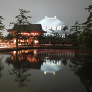 世界遺産 夜の東大寺大仏殿 !奈良きたまちから東大寺へ向かう道