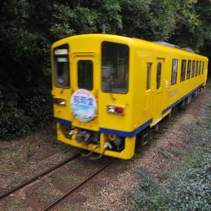 黄色い列車・島原鉄道を諫早駅近くの遮断機のない第4号踏切で激写