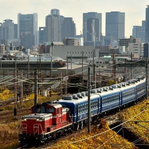 東海道本線の淡い風景の中を行くDD51+12系客車の網干訓練他(塚本信~尼崎)