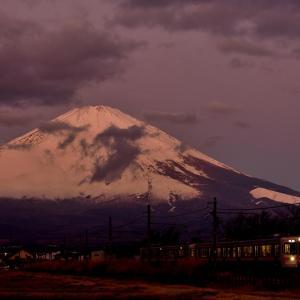 御殿場線の富士山バックを行くローカル電車(御殿場~足柄)