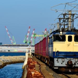 予讃線の静かな瀬戸内海沿いを行くEF65-2101号機牽引のコンテナ貨物他(海岸寺~詫間)