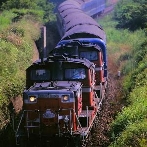 山陰本線を行く懐かしのDD51重連牽引の寝台特急「出雲」と181系特急「はまかぜ」(大山口~名和)