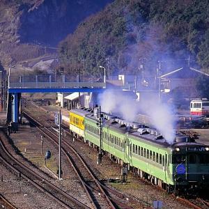 美祢線の南大嶺駅を出発する懐かしのキハ23+キハ28系の大嶺支線サヨナラ列車他(南大嶺駅)