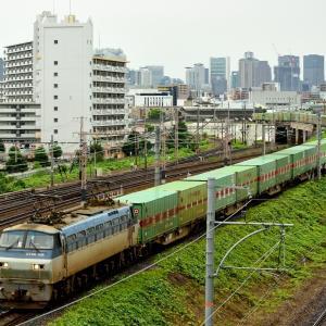東海道本線の加島陸橋を通過するEF66-108号機牽引の55レ「福山通運エキスプレス」他(塚本信~尼崎)