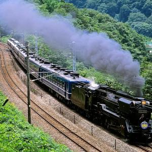 上越線の急勾配を進むD51-498号機牽引のSL「みなかみ号」他(水上~上牧)