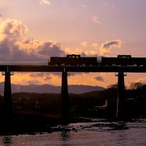 八高線の夕刻の入間川橋梁を行く懐かしのDD51重連単機回送他(東飯能~金子)