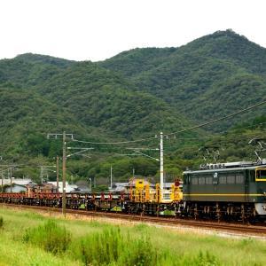 山陽本線を行くトワイライト色のEF65-1124号機牽引のロンチキ(三石~上郡)