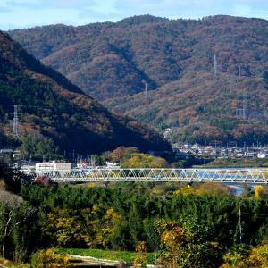 津山線の晩秋の里山を行くキハ40系(牧山~野々口)