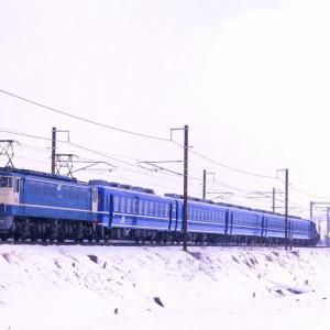 北陸本線の雪景色の中を行くEF65ー1132号機牽引の「SL北びわこ号」回送他(長浜~虎姫)