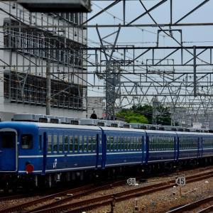 東海道本線の尼崎駅を通過する網干訓練の12系客車とDD51ー1183号機(尼崎駅)