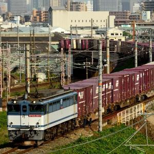 東海道本線の加島陸橋を通過する夕刻のEF65牽引の75レコンテナ貨物(塚本信~尼崎)