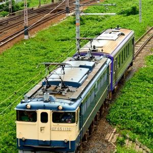 東海道本線の加島陸橋を通過するEF65-1132号機のキハ120配給他(塚本信~尼崎)