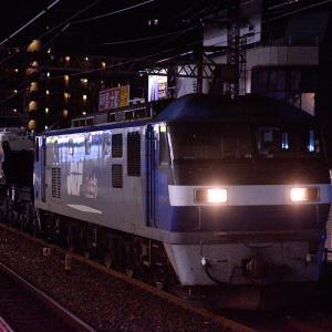 大阪環状線の深夜の野田駅を通過するEF210ー141号機牽引のシキ801形大物車(野田駅)