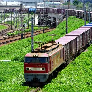 東海道本線の加島陸橋を通過する赤と青のEF510牽引のコンテナ貨物の2077レ(塚本信~尼崎)