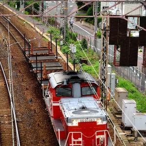東海道本線の加島陸橋を通過するDD51ー1183号機牽引のチキ工臨他(塚本信~尼崎)