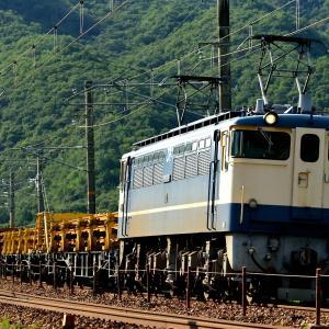 山陽本線の夏の船坂峠を下って行くEF65-1128号機牽引のレール輸送列車他(三石~上郡)