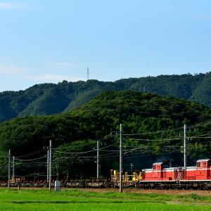 山陽本線の夏の田園風景を行くDD51重連のロンチキ返空回送他(有年~上郡)