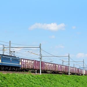 東海道本線の盛夏の青空をバックに行くEF65-2089号機牽引のコンテナ貨物他(大垣~穂積)