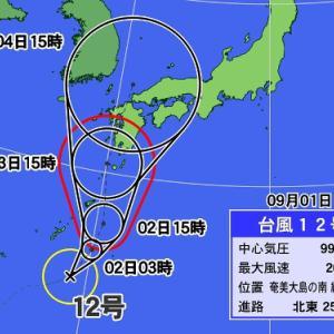 台風12号の進路が気になる