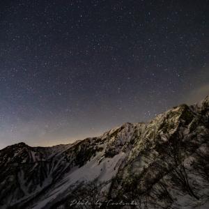 大山北壁から見た星空