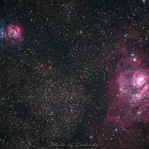 干潟星雲と三裂星雲(M8とM20)
