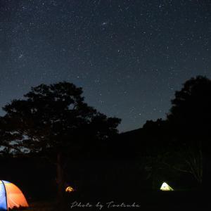吾妻山の夕焼けと星空