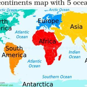 世界は7大陸を英語でなんて言うの? 7continents of the world