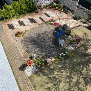 お庭の全体写真を2階から撮ってみたよ