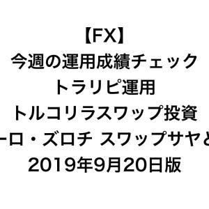 【FX】今週の運用成績チェック(トラリピ運用、トルコリラスワップ投資、ユーロ・ズロチ スワップサヤどり)2019年9月20日版