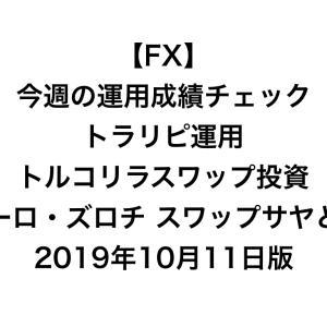 【FX】今週の運用成績チェック(トラリピ運用、トルコリラスワップ投資、ユーロ・ズロチ スワップサヤどり)2019年10月11日版