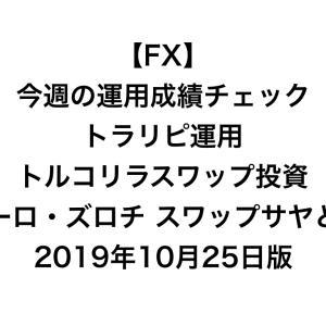 【FX】今週の運用成績チェック(トラリピ運用、トルコリラスワップ投資、ユーロ・ズロチ スワップサヤどり)2019年10月25日版