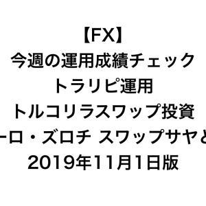 【FX】今週の運用成績チェック(トラリピ運用、トルコリラスワップ投資、ユーロ・ズロチ スワップサヤどり)2019年11月1日版