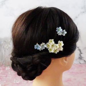 【浴衣に】かすみ草の髪飾り 3点セット