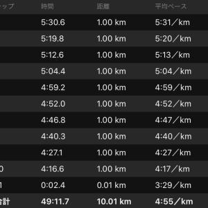 昨日は10kmビルドアップ走。