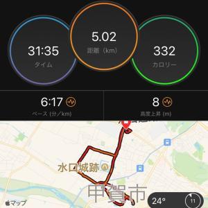 甲賀市水口でゆるゆる夜ラン&速めに朝ラン。