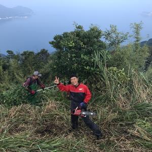 奉仕作業のはしご。次は大浦の亀ヶ丘の伐採活動!!