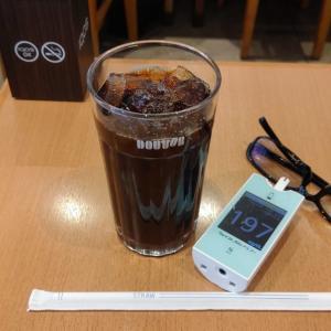 朝イチ血糖値はちょっと高いよ! 不要不急の外出は避けるべきなんだけど・・・やっぱりカフェってしまった。