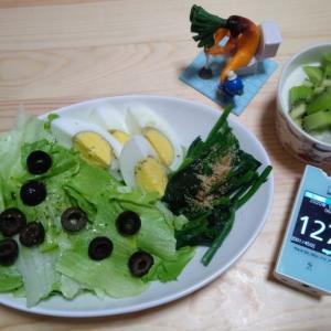 朝ごはんにサラダ復活。水溶性食物繊維を摂ろうと思ったんだけど いろいろ勘違い(∀`*ゞ)テヘッ でも、ま、いっか!