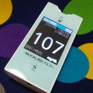 昨日の血糖値の推移。やっぱり自己分泌量が減ってるのか?バイト明けでもあまり下がらない。