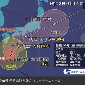 台風14号接近&東京株式市場(2020年10月8日)
