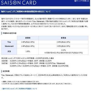 【備忘録】クレジットカードの海外事務手数料(2020年2月時点)