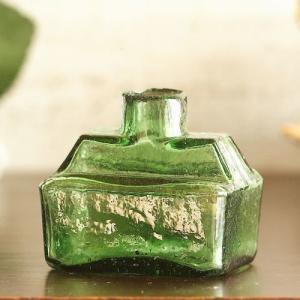 イギリス アンティーク雑貨 ガラス ヴィクトリアンインク瓶 ペン置きタイプ