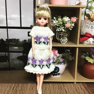 リカちゃん編み込み模様がお気に入りのお洋服❣️