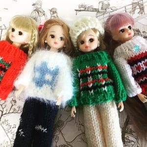 リカちゃんに編み込み模様のセーター❣️