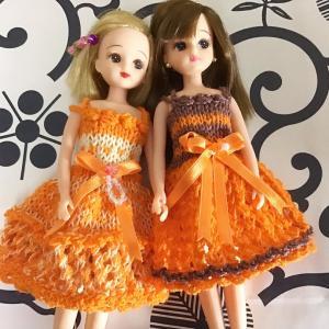 リカちゃんオレンジ色のワンピ5着❣️