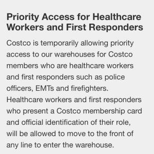 Costco:医療従事者や消防士等への配慮に感謝