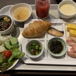 新潟での宿泊は万代口そばの「ジュラクステイ新潟」朝食は「あけびの実」での岩船産コシヒカリがウリのバイキング