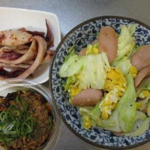 キャベツと魚肉ソーセージ炒めとアップルハイボール