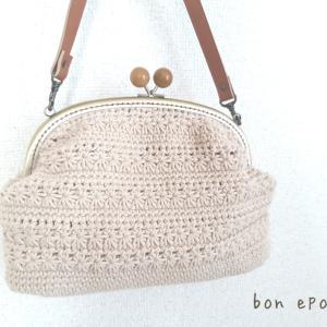 このバッグにつられて~♡私も、ガマ口バッグ編みました♪