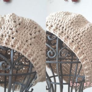 コットン糸のベレー帽♪簡単でシンプル?ちょっと手の込んだレース風?お好きな方で編めますよ♡